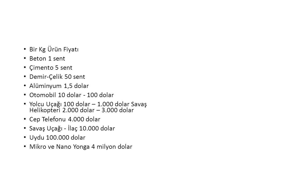 Bir Kg Ürün Fiyatı Beton 1 sent Çimento 5 sent Demir-Çelik 50 sent Alüminyum 1,5 dolar Otomobil 10 dolar - 100 dolar Yolcu Uçağı 100 dolar – 1.000 dol