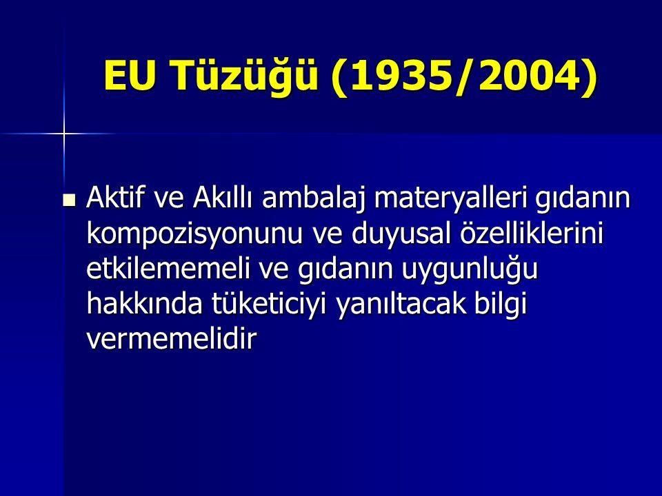 EU Tüzüğü (1935/2004) Aktif ve Akıllı ambalaj materyalleri gıdanın kompozisyonunu ve duyusal özelliklerini etkilememeli ve gıdanın uygunluğu hakkında