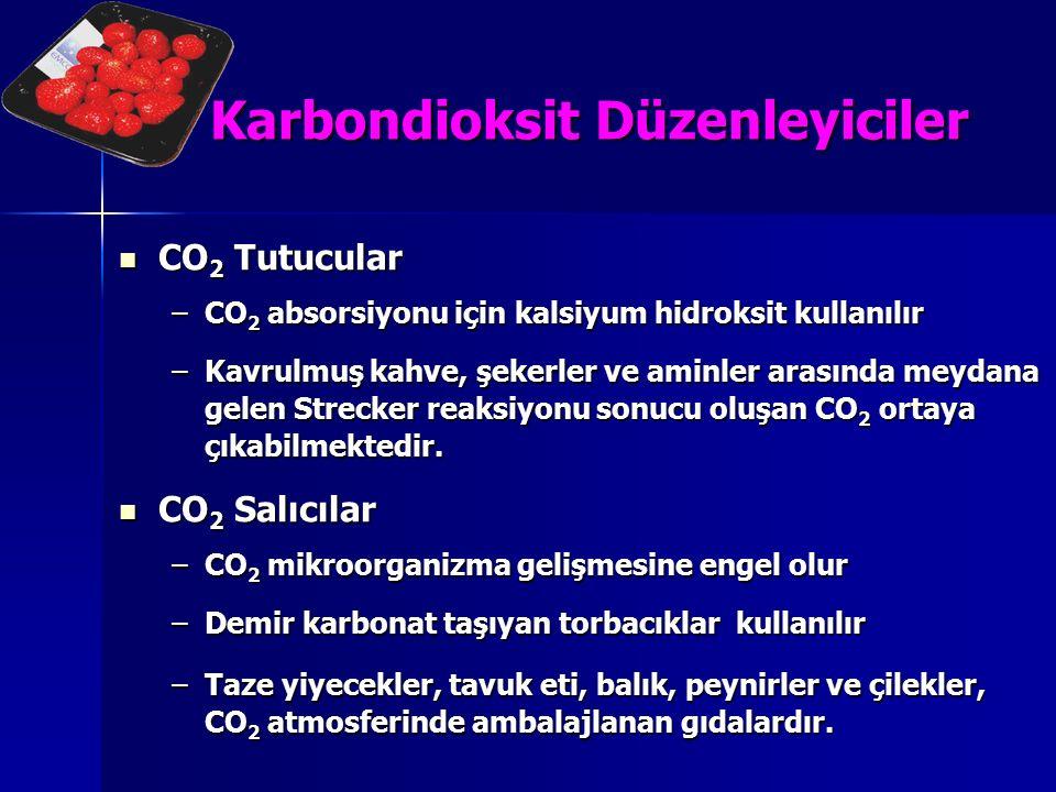 Karbondioksit Düzenleyiciler CO 2 Tutucular CO 2 Tutucular –CO 2 absorsiyonu için kalsiyum hidroksit kullanılır –Kavrulmuş kahve, şekerler ve aminler
