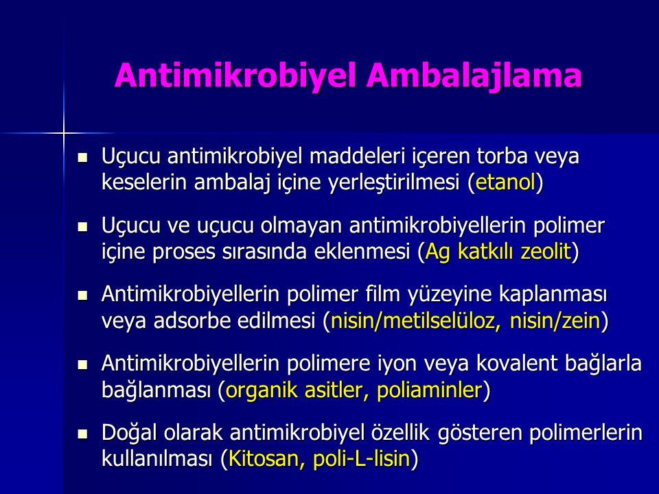 Antimikrobiyel Ambalajlama Uçucu antimikrobiyel maddeleri içeren torba veya keselerin ambalaj içine yerleştirilmesi (etanol) Uçucu antimikrobiyel madd