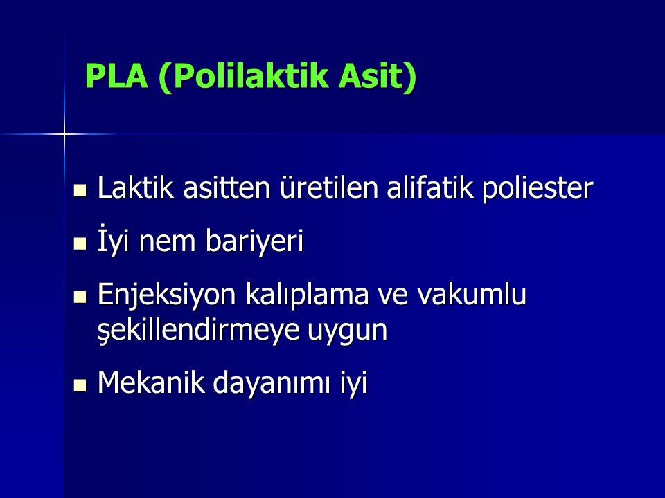 PLA (Polilaktik Asit) Laktik asitten üretilen alifatik poliester Laktik asitten üretilen alifatik poliester İyi nem bariyeri İyi nem bariyeri Enjeksiy