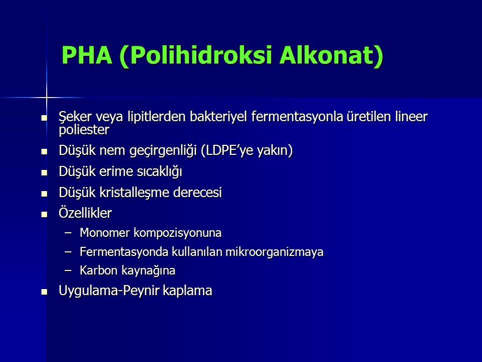 PHA (Polihidroksi Alkonat) Şeker veya lipitlerden bakteriyel fermentasyonla üretilen lineer poliester Şeker veya lipitlerden bakteriyel fermentasyonla