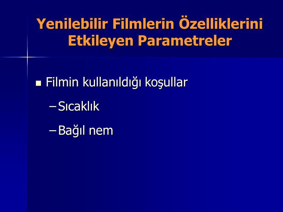 Yenilebilir Filmlerin Özelliklerini Etkileyen Parametreler Filmin kullanıldığı koşullar Filmin kullanıldığı koşullar –Sıcaklık –Bağıl nem