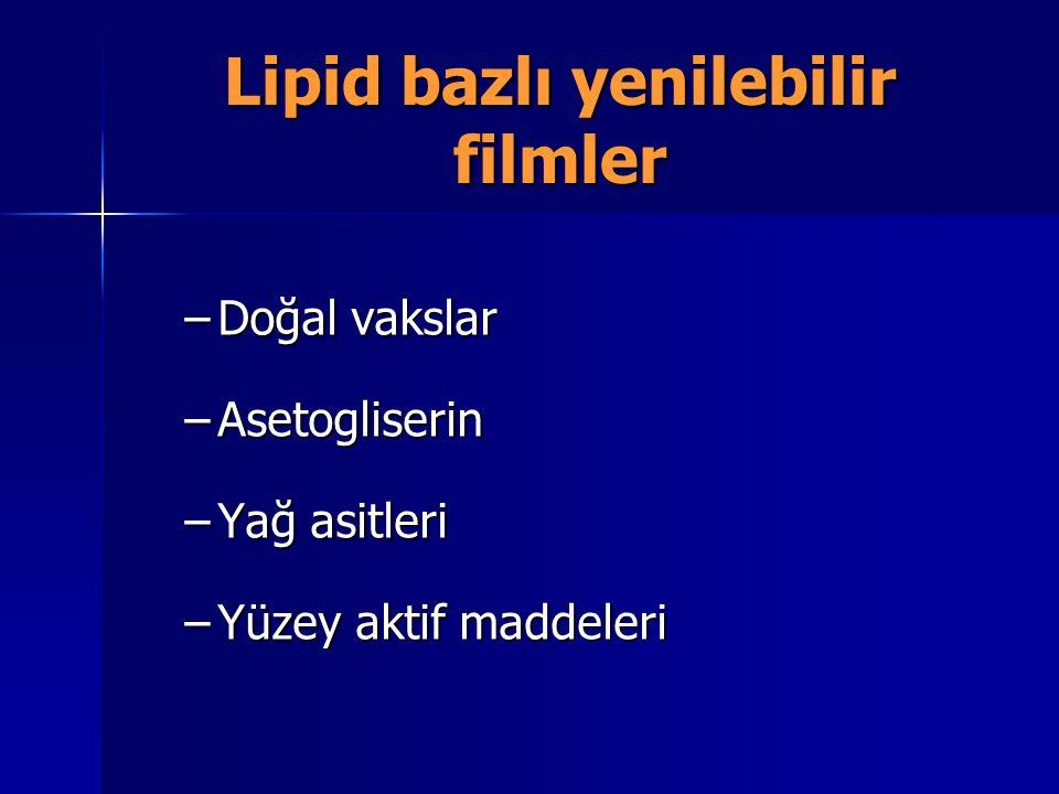 Lipid bazlı yenilebilir filmler –Doğal vakslar –Asetogliserin –Yağ asitleri –Yüzey aktif maddeleri
