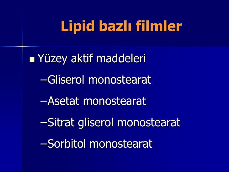 Lipid bazlı filmler Yüzey aktif maddeleri Yüzey aktif maddeleri –Gliserol monostearat –Asetat monostearat –Sitrat gliserol monostearat –Sorbitol monos