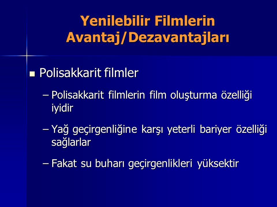 Yenilebilir Filmlerin Avantaj/Dezavantajları Polisakkarit filmler Polisakkarit filmler –Polisakkarit filmlerin film oluşturma özelliği iyidir –Yağ geç