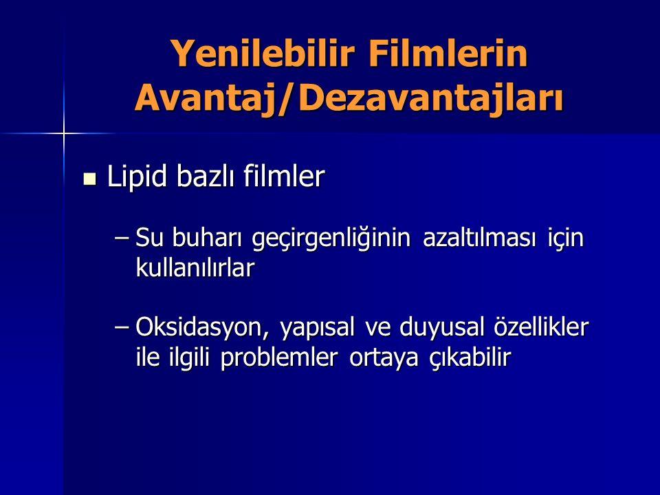 Yenilebilir Filmlerin Avantaj/Dezavantajları Lipid bazlı filmler Lipid bazlı filmler –Su buharı geçirgenliğinin azaltılması için kullanılırlar –Oksida