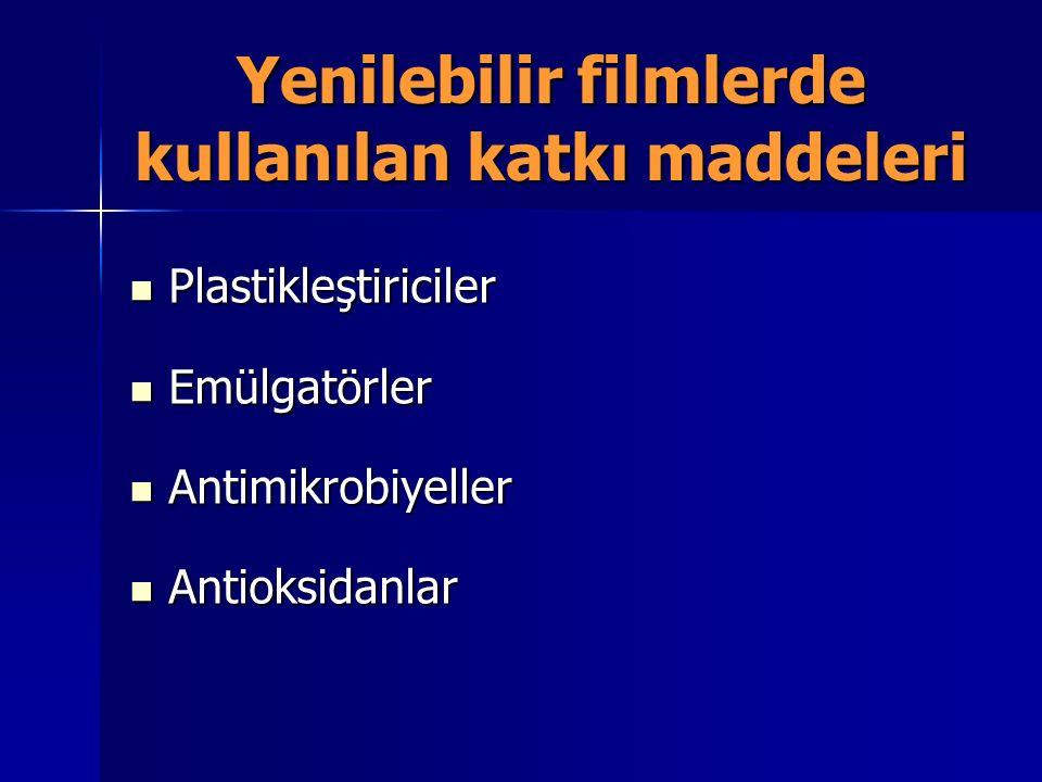 Yenilebilir filmlerde kullanılan katkı maddeleri Plastikleştiriciler Plastikleştiriciler Emülgatörler Emülgatörler Antimikrobiyeller Antimikrobiyeller