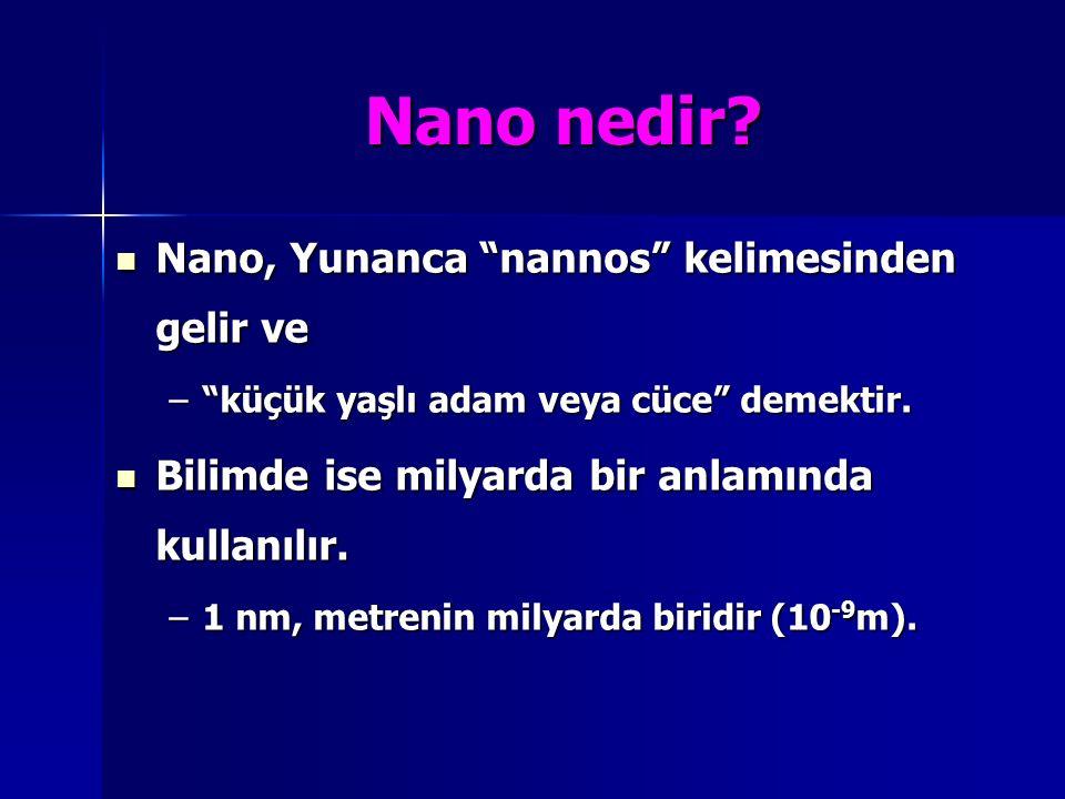 """Nano nedir? Nano, Yunanca """"nannos"""" kelimesinden gelir ve Nano, Yunanca """"nannos"""" kelimesinden gelir ve –""""küçük yaşlı adam veya cüce"""" demektir. Bilimde"""