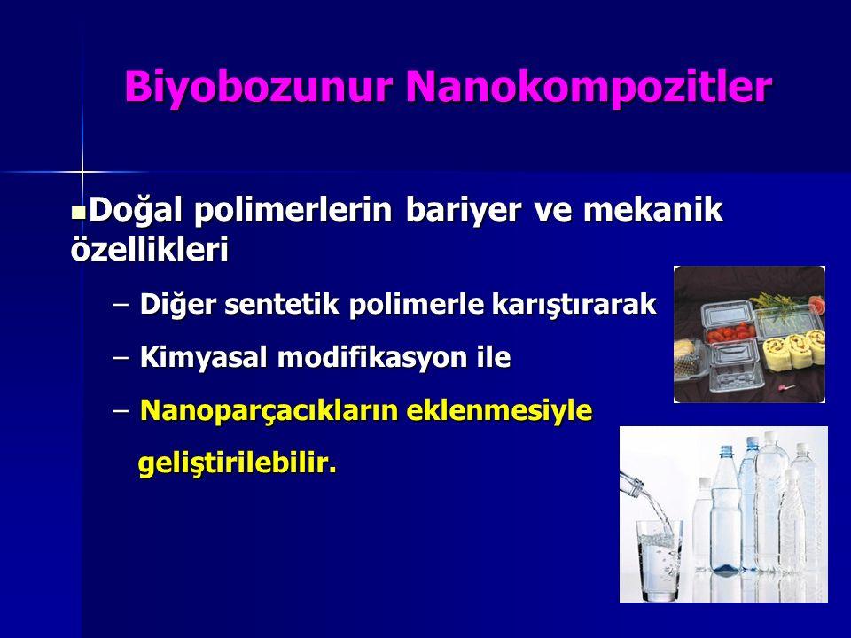 Biyobozunur Nanokompozitler Doğal polimerlerin bariyer ve mekanik özellikleri Doğal polimerlerin bariyer ve mekanik özellikleri –Diğer sentetik polime