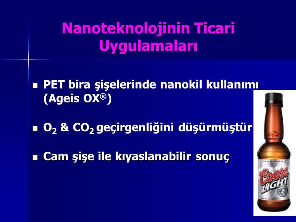 Nanoteknolojinin Ticari Uygulamaları PET bira şişelerinde nanokil kullanımı (Ageis OX ® ) O 2 & CO 2 geçirgenliğini düşürmüştür Cam şişe ile kıyaslana