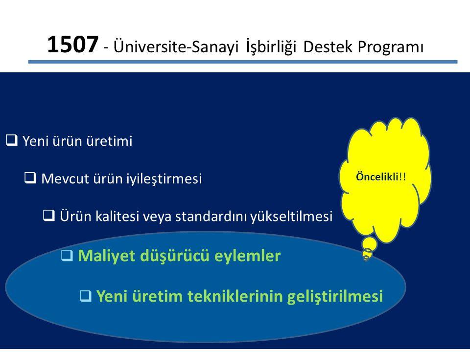 1507 - Üniversite-Sanayi İşbirliği Destek Programı  Yeni ürün üretimi  Mevcut ürün iyileştirmesi  Ürün kalitesi veya standardını yükseltilmesi  Maliyet düşürücü eylemler  Yeni üretim tekniklerinin geliştirilmesi Öncelikli!!