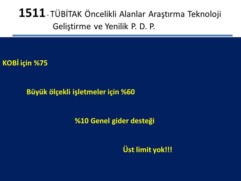 1511 - TÜBİTAK Öncelikli Alanlar Araştırma Teknoloji Geliştirme ve Yenilik P.