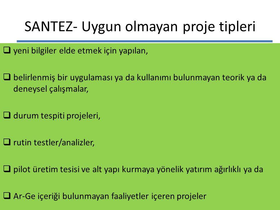 SANTEZ- Uygun olmayan proje tipleri  yeni bilgiler elde etmek için yapılan,  belirlenmiş bir uygulaması ya da kullanımı bulunmayan teorik ya da dene