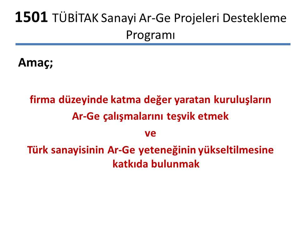 1501 TÜBİTAK Sanayi Ar-Ge Projeleri Destekleme Programı Amaç; firma düzeyinde katma değer yaratan kuruluşların Ar-Ge çalışmalarını teşvik etmek ve Türk sanayisinin Ar-Ge yeteneğinin yükseltilmesine katkıda bulunmak