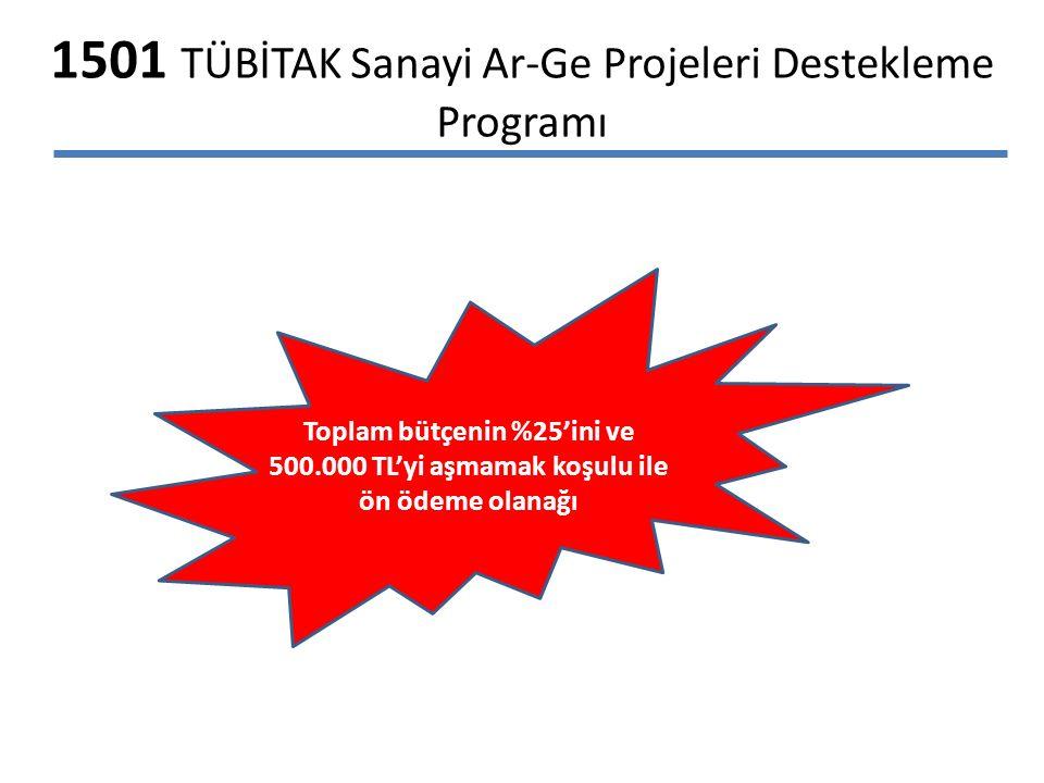 1501 TÜBİTAK Sanayi Ar-Ge Projeleri Destekleme Programı Toplam bütçenin %25'ini ve 500.000 TL'yi aşmamak koşulu ile ön ödeme olanağı