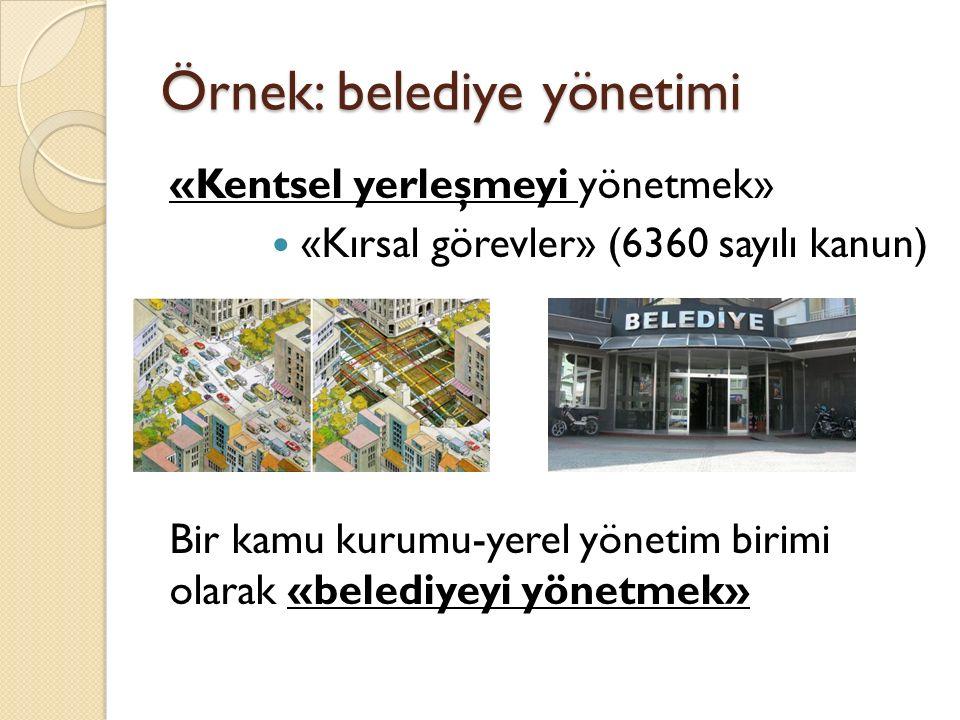 Örnek: belediye yönetimi «Kentsel yerleşmeyi yönetmek» «Kırsal görevler» (6360 sayılı kanun) Bir kamu kurumu-yerel yönetim birimi olarak «belediyeyi y