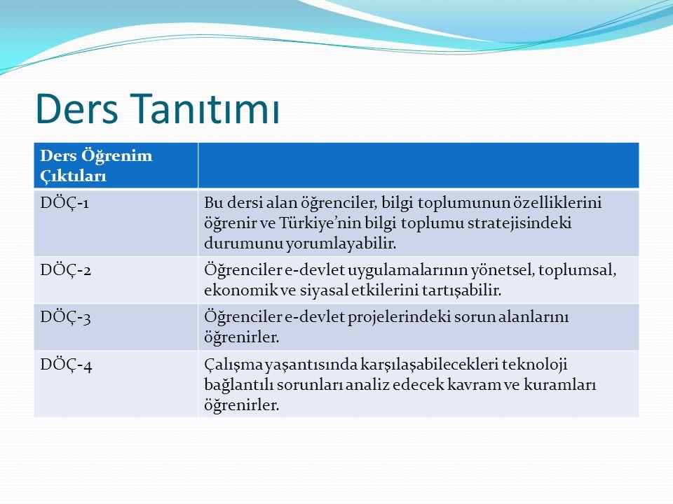 Ders Tanıtımı Ders Öğrenim Çıktıları DÖÇ-1Bu dersi alan öğrenciler, bilgi toplumunun özelliklerini öğrenir ve Türkiye'nin bilgi toplumu stratejisindek