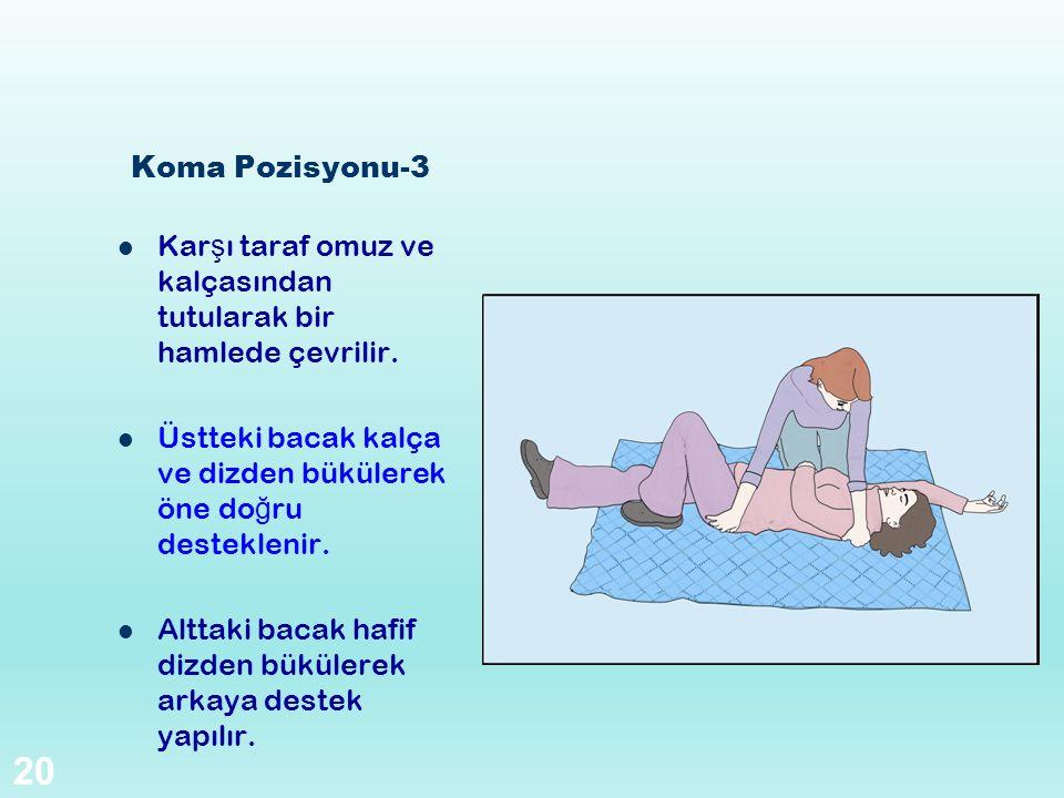 Koma Pozisyonu-3 Kar ş ı taraf omuz ve kalçasından tutularak bir hamlede çevrilir. Üstteki bacak kalça ve dizden bükülerek öne do ğ ru desteklenir. Al