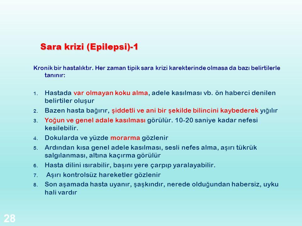 Sara krizi (Epilepsi)-1 Kronik bir hastalıktır. Her zaman tipik sara krizi karekterinde olmasa da bazı belirtilerle tanınır: 1. Hastada var olmayan ko