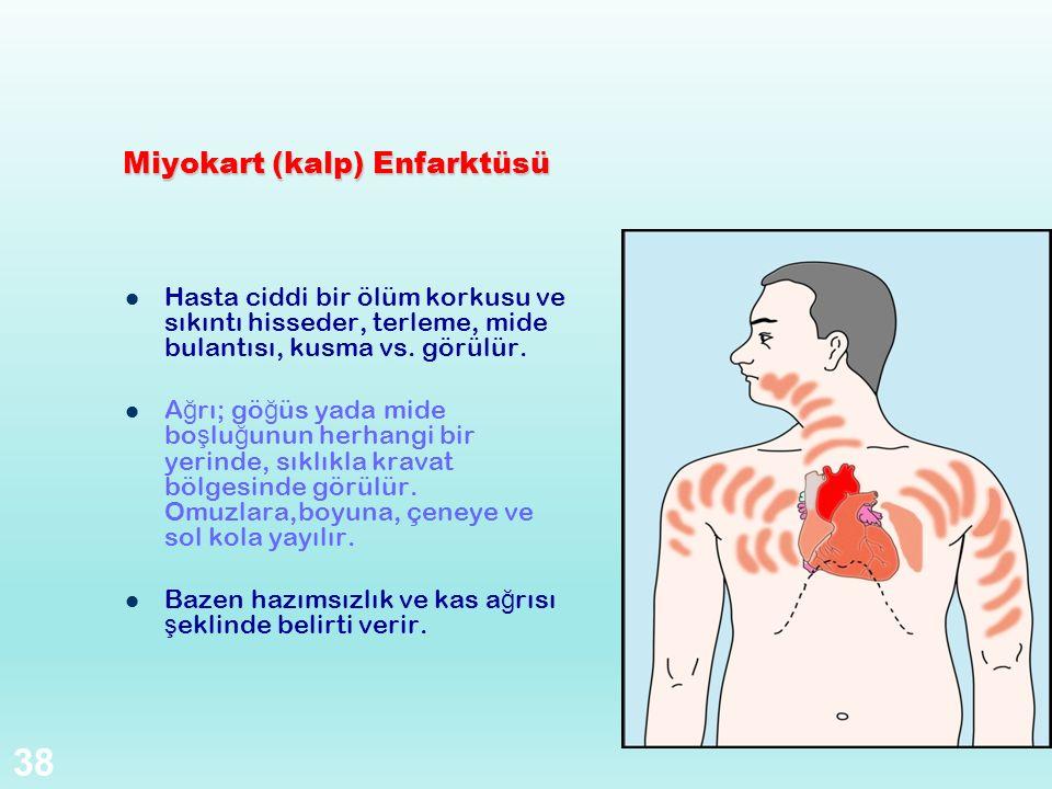 Miyokart (kalp) Enfarktüsü Hasta ciddi bir ölüm korkusu ve sıkıntı hisseder, terleme, mide bulantısı, kusma vs. görülür. A ğ rı; gö ğ üs yada mide bo