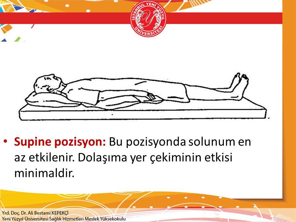 Supine pozisyon: Bu pozisyonda solunum en az etkilenir. Dolaşıma yer çekiminin etkisi minimaldir.