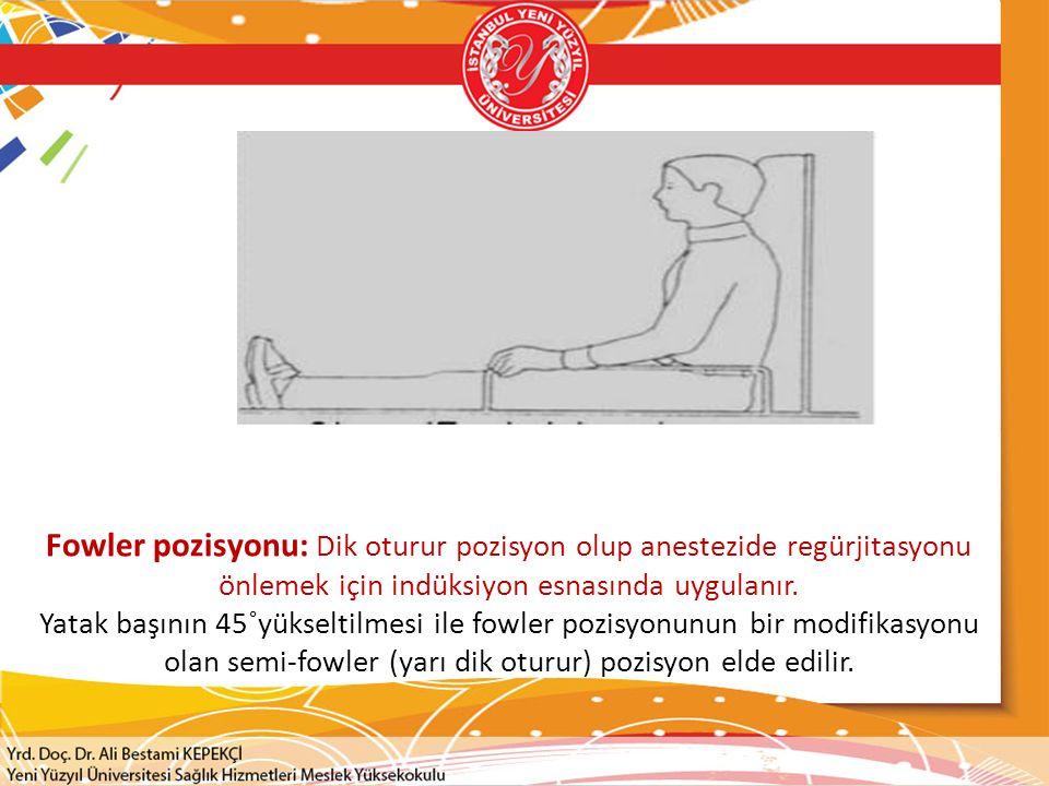 Fowler pozisyonu: Dik oturur pozisyon olup anestezide regürjitasyonu önlemek için indüksiyon esnasında uygulanır.