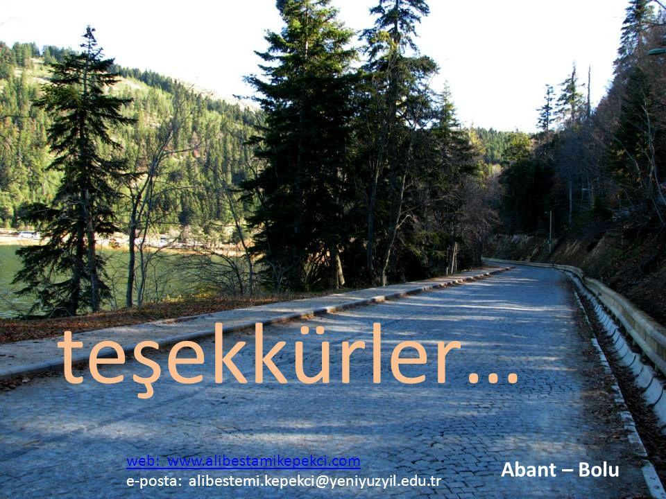 teşekkürler… Abant – Bolu web: www.alibestamikepekci.com e-posta: alibestemi.kepekci@yeniyuzyil.edu.tr