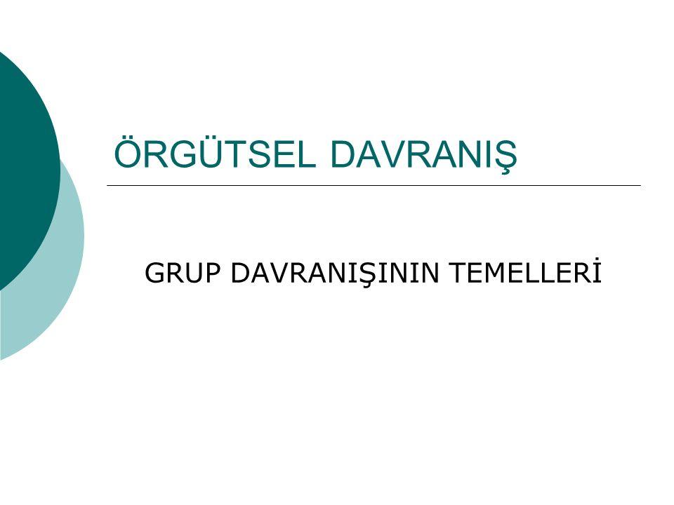 ÖRGÜTSEL DAVRANIŞ GRUP DAVRANIŞININ TEMELLERİ