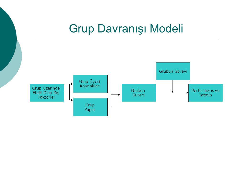 Grup Davranışı Modeli Grup Üzerinde Etkili Olan Dış Faktörler Grup Üyesi Kaynakları Grup Yapısı Performans ve Tatmin Grubun Görevi Grubun Süreci