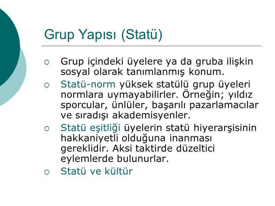 Grup Yapısı (Statü)  Grup içindeki üyelere ya da gruba ilişkin sosyal olarak tanımlanmış konum.  Statü-norm yüksek statülü grup üyeleri normlara uym