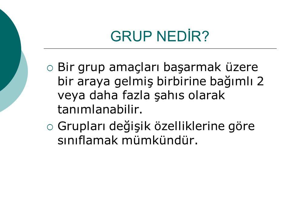 GRUP NEDİR?  Bir grup amaçları başarmak üzere bir araya gelmiş birbirine bağımlı 2 veya daha fazla şahıs olarak tanımlanabilir.  Grupları değişik öz