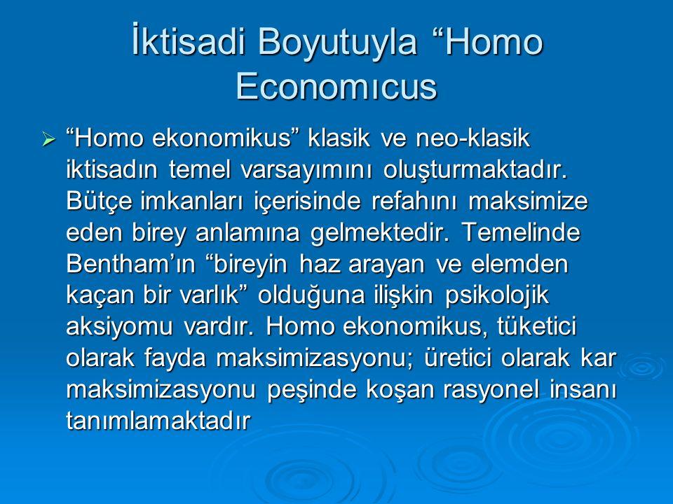 """İktisadi Boyutuyla """"Homo Economıcus  """"Homo ekonomikus"""" klasik ve neo-klasik iktisadın temel varsayımını oluşturmaktadır. Bütçe imkanları içerisinde r"""