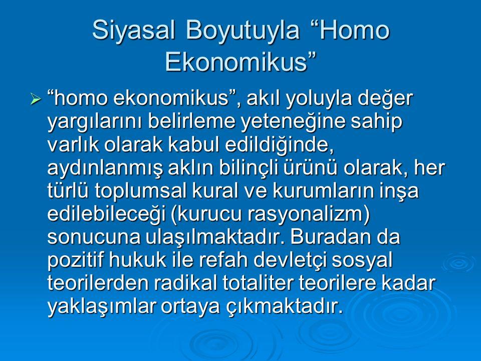 """Siyasal Boyutuyla """"Homo Ekonomikus""""  """"homo ekonomikus"""", akıl yoluyla değer yargılarını belirleme yeteneğine sahip varlık olarak kabul edildiğinde, ay"""