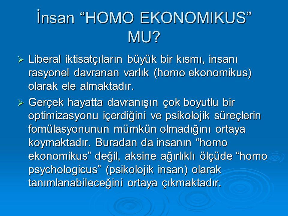 """İnsan """"HOMO EKONOMIKUS"""" MU?  Liberal iktisatçıların büyük bir kısmı, insanı rasyonel davranan varlık (homo ekonomikus) olarak ele almaktadır.  Gerçe"""