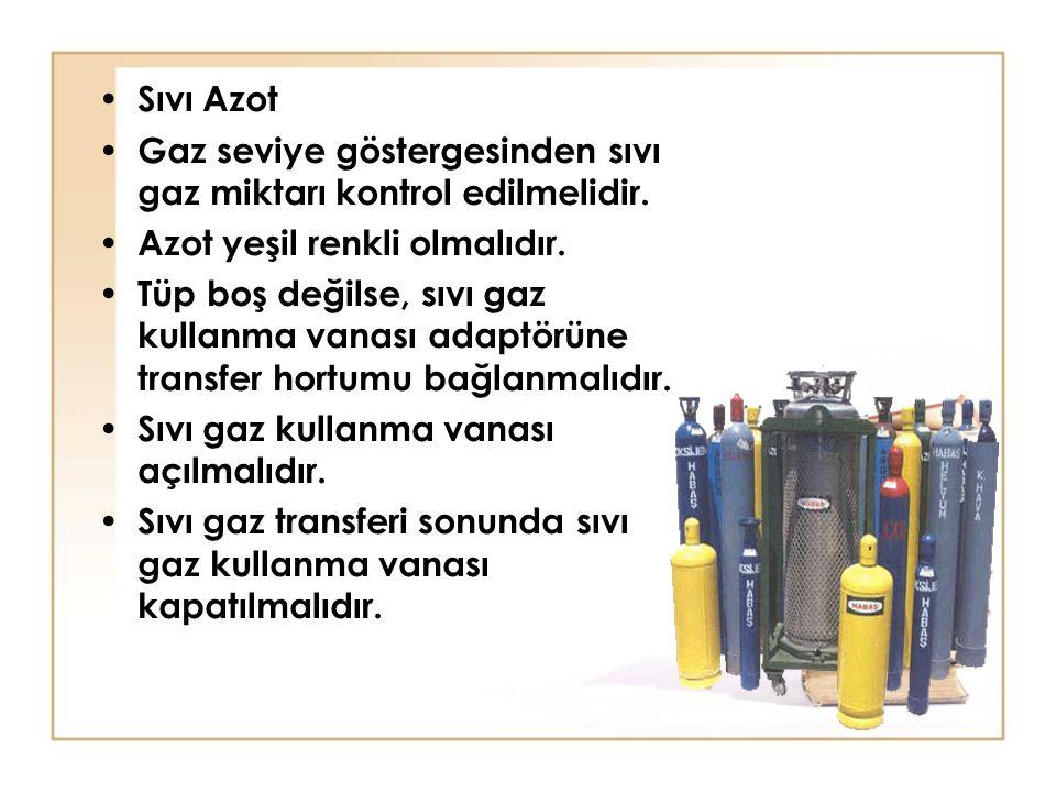 Sıvı Azot Gaz seviye göstergesinden sıvı gaz miktarı kontrol edilmelidir. Azot yeşil renkli olmalıdır. Tüp boş değilse, sıvı gaz kullanma vanası adapt