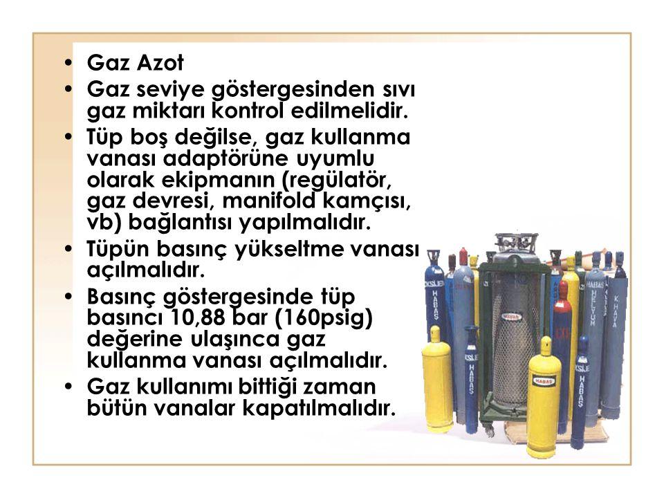 Gaz Azot Gaz seviye göstergesinden sıvı gaz miktarı kontrol edilmelidir. Tüp boş değilse, gaz kullanma vanası adaptörüne uyumlu olarak ekipmanın (regü
