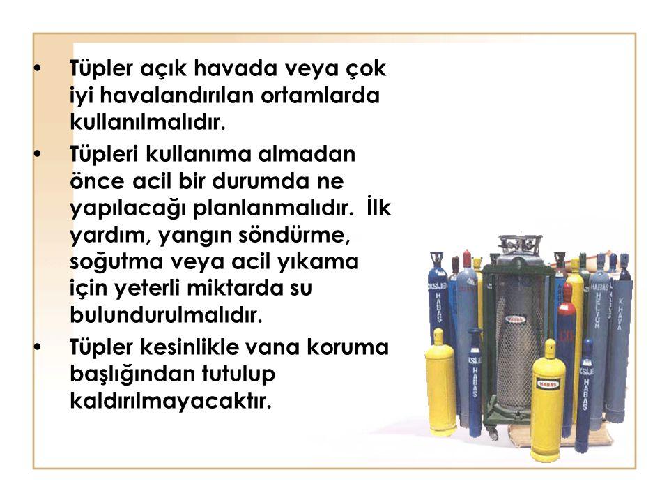 Tüpler açık havada veya çok iyi havalandırılan ortamlarda kullanılmalıdır. Tüpleri kullanıma almadan önce acil bir durumda ne yapılacağı planlanmalıdı