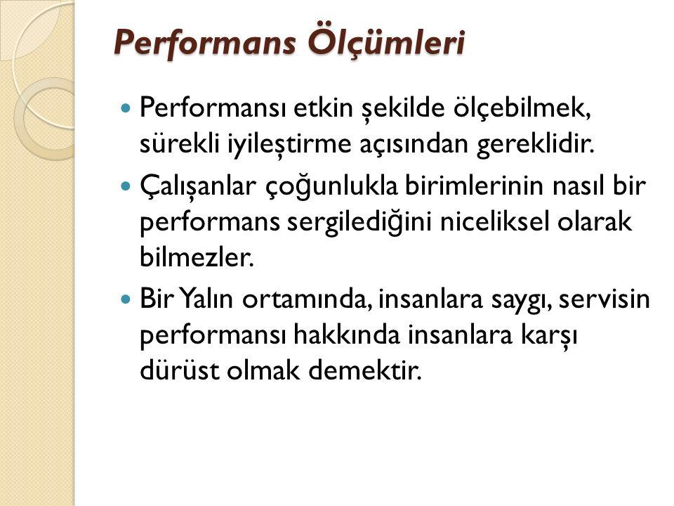Performans Ölçümleri Performansı etkin şekilde ölçebilmek, sürekli iyileştirme açısından gereklidir. Çalışanlar ço ğ unlukla birimlerinin nasıl bir pe