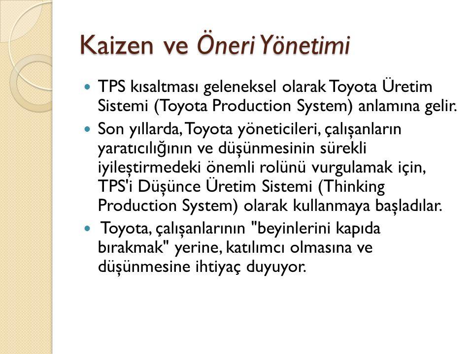 Kaizen ve Öneri Yönetimi TPS kısaltması geleneksel olarak Toyota Üretim Sistemi (Toyota Production System) anlamına gelir. Son yıllarda, Toyota yöneti