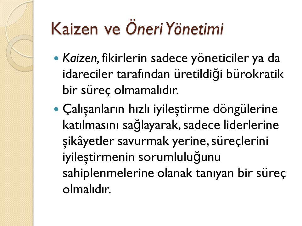 Kaizen ve Öneri Yönetimi Kaizen, fikirlerin sadece yöneticiler ya da idareciler tarafından üretildi ğ i bürokratik bir süreç olmamalıdır. Çalışanların