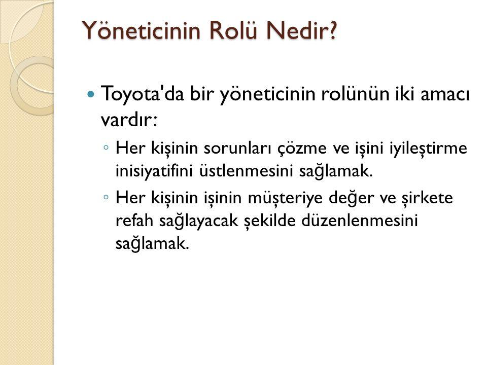 Yöneticinin Rolü Nedir? Toyota'da bir yöneticinin rolünün iki amacı vardır: ◦ Her kişinin sorunları çözme ve işini iyileştirme inisiyatifini üstlenmes