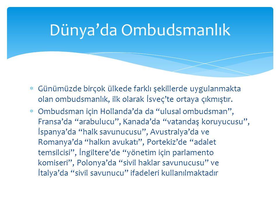  Günümüzde birçok ülkede farklı şekillerde uygulanmakta olan ombudsmanlık, ilk olarak İsveç'te ortaya çıkmıştır.
