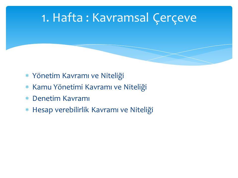  Yönetim Kavramı ve Niteliği  Kamu Yönetimi Kavramı ve Niteliği  Denetim Kavramı  Hesap verebilirlik Kavramı ve Niteliği 1.