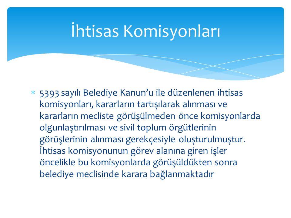  5393 sayılı Belediye Kanun'u ile düzenlenen ihtisas komisyonları, kararların tartışılarak alınması ve kararların mecliste görüşülmeden önce komisyonlarda olgunlaştırılması ve sivil toplum örgütlerinin görüşlerinin alınması gerekçesiyle oluşturulmuştur.