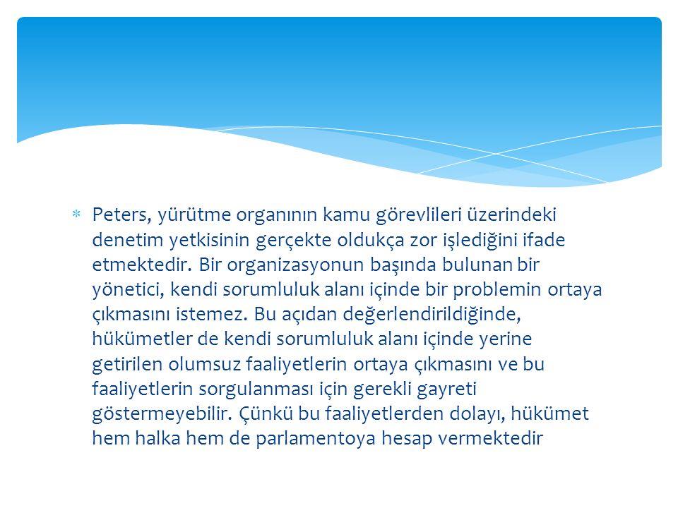  Peters, yürütme organının kamu görevlileri üzerindeki denetim yetkisinin gerçekte oldukça zor işlediğini ifade etmektedir.
