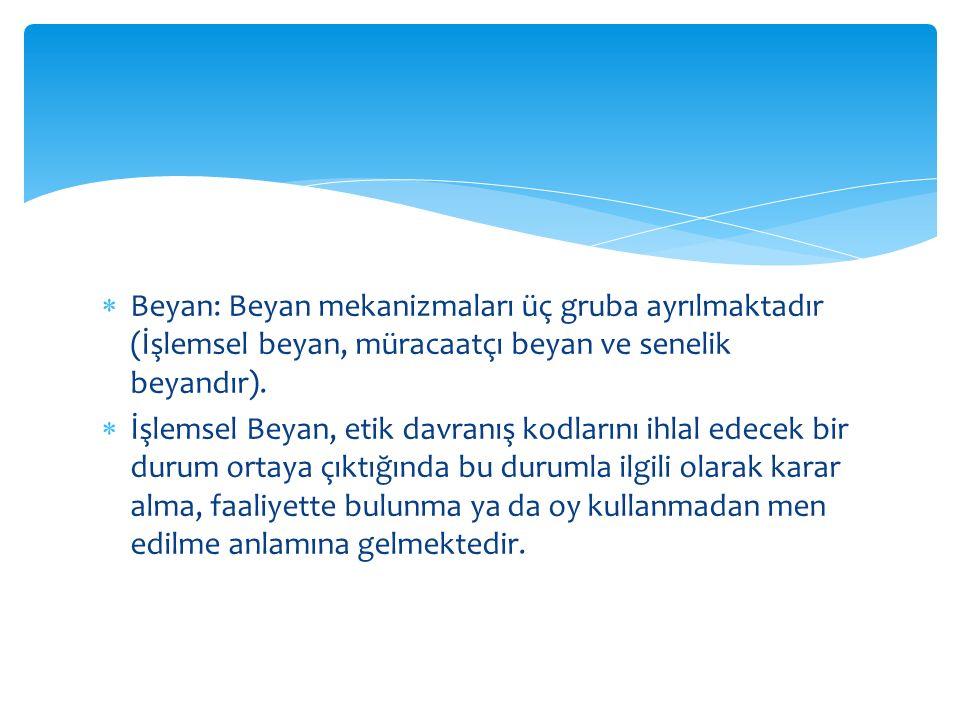  Beyan: Beyan mekanizmaları üç gruba ayrılmaktadır (İşlemsel beyan, müracaatçı beyan ve senelik beyandır).