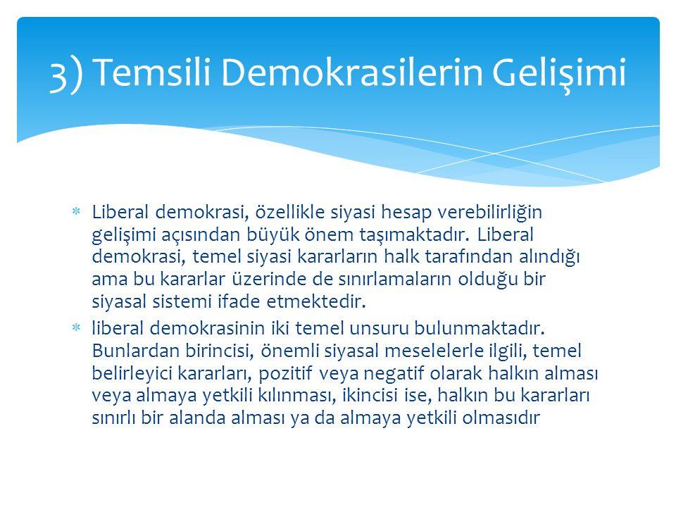  Liberal demokrasi, özellikle siyasi hesap verebilirliğin gelişimi açısından büyük önem taşımaktadır. Liberal demokrasi, temel siyasi kararların halk