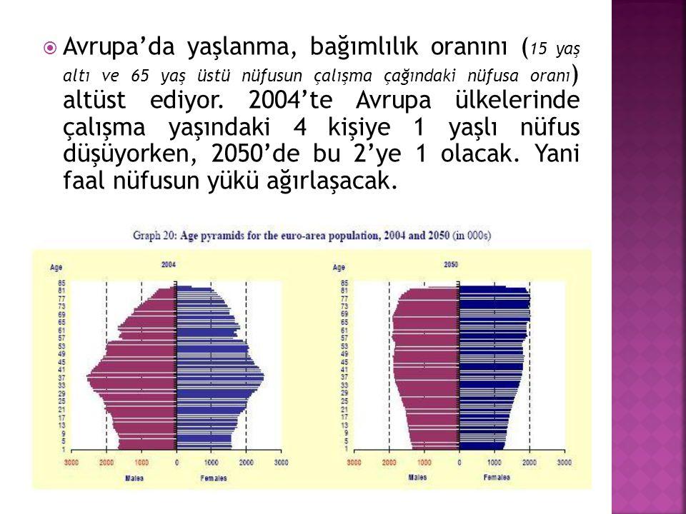  Avrupa'da yaşlanma, bağımlılık oranını ( 15 yaş altı ve 65 yaş üstü nüfusun çalışma çağındaki nüfusa oranı ) altüst ediyor. 2004'te Avrupa ülkelerin