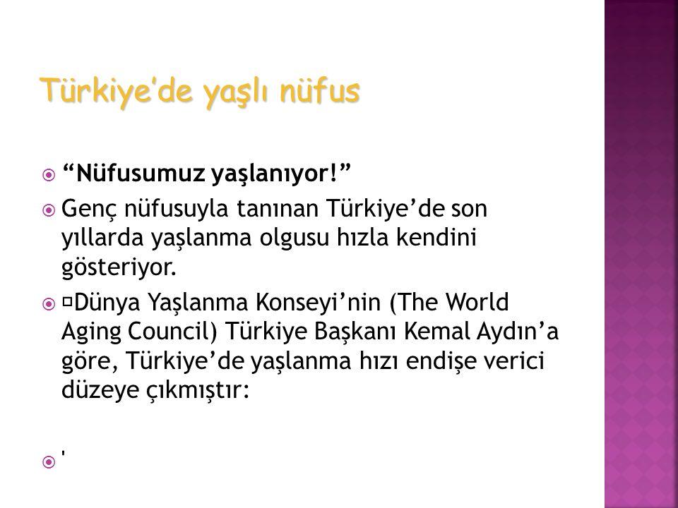 """ """"Nüfusumuz yaşlanıyor!""""  Genç nüfusuyla tanınan Türkiye'de son yıllarda yaşlanma olgusu hızla kendini gösteriyor.   Dünya Yaşlanma Konseyi'nin (T"""